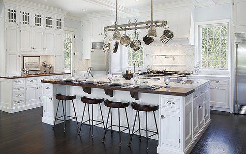 Bright White Kitchen; Custom Cabinetry, Oversized Eat-At Island