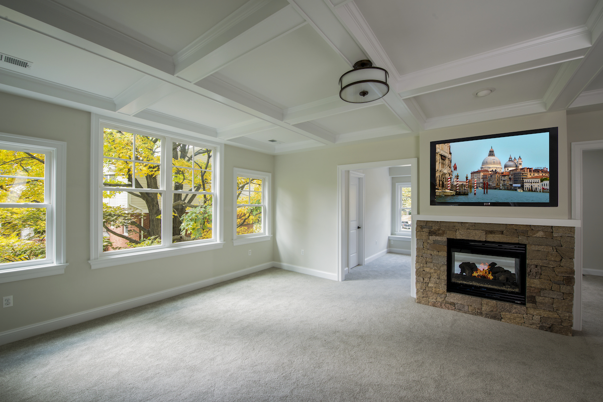 Spacious Master Bedroom with 2-Way Fireplace - Custom New Home Design / Build In Vienna, VA Commonwealth Home