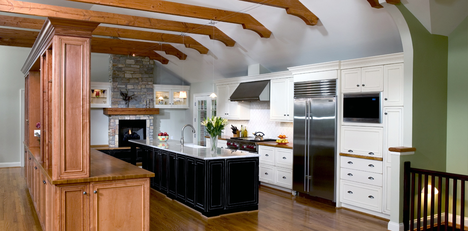 Kitchen Expansion & Reconfiguration; Fireplace in Kitchen; Natural Wood Beams
