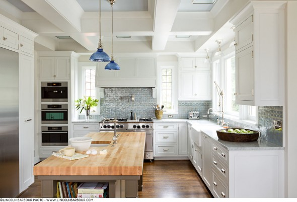 Bright White Kitchen, Cobalt Accents