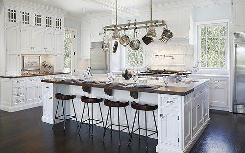 Bright White Kitchen; Custom Cabinetry, Oversized Eat-At Island